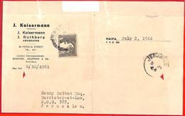 Aa2276 - PALESTINE - POSTAL HISTORY - Internal Mail COVER:  Haifa - Jerusalem - Palästina