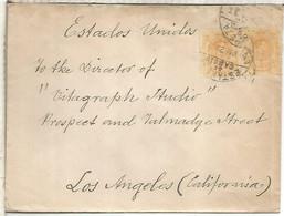 MADRID A USA LOS ANGELES 1921 SELLOS MEDALLON Y MAT ESFETA DE CAMBIO - Cartas