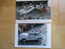 Lot De 2 Photos De Presse  Deux Chevaux Festival De Chalon Sur Saone - Automobili
