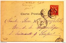 """Rare Cachet Ambulant """"Bsançon A Dijon Nov 1903"""" Lettre """"e"""" Absente Mouchon Indice Pothion=11 Cp Danseuse - Railway Post"""