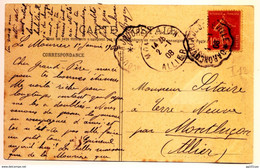 "Rare Cachet Convoyeur ""Baroncourt A Joudreville 1908"" Semeuse Indice Pothion=12 Cp Landres - Railway Post"