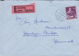 Schweiz Eilsendung EXPRÉS Espresso Label HOTEL SPLENDIDE LUGANO PARADISO 1958 Cover Brief Vermelundsvej GENTOFTE Denmark - Covers & Documents