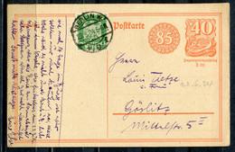 """German Empires,DR 1924 GS Postreiter Mi.Nr.P153 Als Spätverwendung Mit Zusatz U Klaren Tstp.""""Berlin 8,f,23.6.24  """"1 GS - Stamped Stationery"""