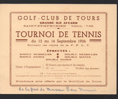 Tours (37 Indre Et Loire) Annonce Du TOURNOI DE TENNIS Septembre 1934  (PPP28790) - Programme