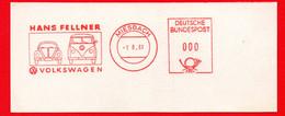 1961 AUTO VW MAGGIOLINO BEETLE - PULMINO -PROOF AFFRANCATURA ROSSA- EMA - METER MARK - FREISTEMPEL - Autos