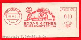 1951 AUTO VW MAGGIOLINO BEETLE - AFFRANCATURA ROSSA- EMA - METER MARK - FREISTEMPEL - Autos