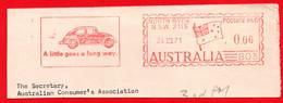 1971 AUTO VW MAGGIOLINO BEETLE + SLOGAN - AUSTRALIA AFFRANCATURA ROSSA- EMA - METER MARK - FREISTEMPEL - Autos