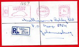 1970 AUTO VW MAGGIOLINO BEETLE -SUD AFRICA AFFRANCATURA ROSSA- EMA - METER MARK - FREISTEMPEL - RACCOMANDATA - Autos