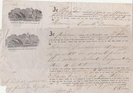 """1864 -2 Connaissements BORDEAUX à ROCHEFORT- Navires """"Marie-Gabrielle & Jne Ida"""" - BOIS DE MARINE - - Documenti Storici"""