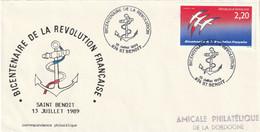 OT Sur Enveloppe : Bicentenaire Révolution Française (St Benoit, 974-La Réunion) Du 13-07-1989 Sur YT 2560 - Bolli Commemorativi