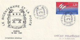 OT Sur Enveloppe : Le Bicentenaire Et La Poste (Vauréal, 95-Val D'Oise) Du 30-05-1989 Sur YT 2560 - Gedenkstempel
