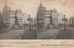 Belgique - ANVERS - La Grande Place, Les Maisons Des Corporations Et La Fontaine ..-  Vues Stéréoscopiques Julien Damoy - Cartoline Stereoscopiche