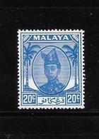 Malaya Trengganu 1952-55 Sultan Ismail Nasiruddin Shah 20c MNH - Trengganu