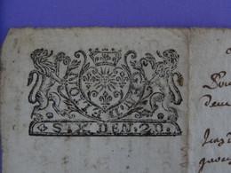 """1693 Généralité De LION LYON Papier Timbré N°95 De """"SIX DEN. 2D."""" Quart De Feuille Lion Soleil Lys Couronne (Rhône) - Seals Of Generality"""
