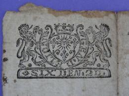 """Généralité De LION LYON Papier Timbré N°95 De """"SIX DEN. 2D."""" Quart De Feuille Lion Soleil Lys Couronne (Rhône) - Seals Of Generality"""