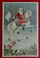 CPA Gaufrée Père Noël Sur Son Cheval Blanc - Oblitération Ciel / Hemel - 1900-1949