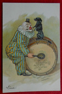 CPA 1906 Gaufrée Clown - Chien / Cirque - 1900-1949