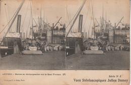 Belgique - ANVERS - Navires En Déchargement Sur Le Quai Flottant -  Vues Stéréoscopiques Julien Damoy - Cartoline Stereoscopiche