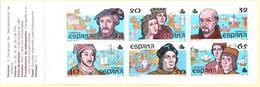 Spain 1987 Discovery Of America Stamp Booklet MNH 2105.1039 Colon Columbus Amerigo Vespucci, Juan De La Cosa, Pinzon - 1981-90 Unused Stamps
