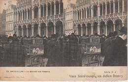 Belgique - BRUXELLES - Le Marché Aux Oiseaux -  Vues Stéréoscopiques Julien Damoy - Cartoline Stereoscopiche
