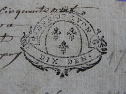 """1756 Généralité De LYON Papier Timbré N°211 De """"DIX DEN."""" Quart De Feuille Lys (Rhône) Vignerons à Ambierle (Loire) - Seals Of Generality"""