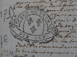 """1755 Généralité De LYON Papier Timbré N°211 De """"DIX DEN."""" Quart De Feuille Lys (Rhône) - Seals Of Generality"""