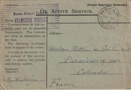 LAC MISSION MILITAIRE FRANCAISE Franchise Postale FIELD POST OFFICE T46 29/10/15 Pour Bernières. - WW I