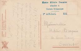 CPFM Mission Militaire Française Attachée à L'Armée Britannique. 1er ANZAC HQ. Corps Expéditionnaire Néo Australien - WW I