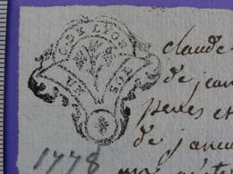 """1778 Généralité De LYON Papier Timbré N°222 De """"UN SOL"""" Quart De Feuille Famille Noyer Saint-Haon-le-Vieux (Loire) - Seals Of Generality"""