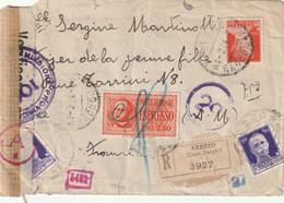 Lettre Recommandée Par Express Italie Pour France. Censure Italienne R100 Et Censure Allemande Commission D - WW II