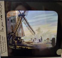 Plaque De Verre Lanterne Magique - Illustration Moulin De Valmy Et Scène De Vie - Ed. Maison De La Bonne Presse - T  TBE - Diapositiva Su Vetro