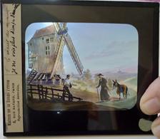 Plaque De Verre Lanterne Magique - Illustration Moulin De Valmy Et Scène De Vie - Ed. Maison De La Bonne Presse -   TBE - Diapositiva Su Vetro