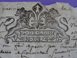 """1778 Généralité De LYON LION Papier Timbré N°127 De """"UN.SOL.4.D."""" Saint-Nicolas-des-Biefs (Allier) Bail Grangeage - Seals Of Generality"""