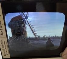Plaque De Verre Lanterne Magique - Illustration Moulin De Valmy - Scène De Nuit  - Ed. Maison De La Bonne Presse -   TBE - Diapositiva Su Vetro
