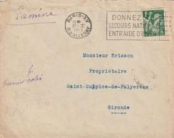 MACHINE FLIER DONNEZ AU SECOURS NATIONNAL ENTRAIDE D'HIVER Paris XV R D'ALLERAY Pour St Sulpice Faleyrens - WW II