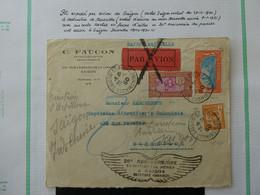 FRANCE  INDOCHINE  Lettre Par Avion Cachet Saigon Central 28-12-1930 Anniversaire Du Premir Vol Voir 2 Scans - Briefe U. Dokumente