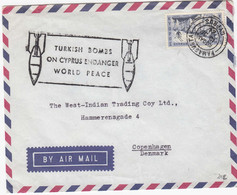CYPRUS.  1 Letter Send To Denmark 1964, + Extra Stamp: Tyrkie Bomb Cyprus - Cartas