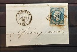 05 - 21 - France - Fragment N°22 Oblitération GC 2681 - Nontron - Dordogne - 1862 Napoléon III