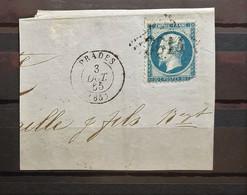 05 - 21 - France - Fragment N°22 Oblitération GC 3014 Prades - Pyrénées Orientales - 1862 Napoleon III