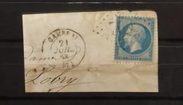 05 - 21 - France - Fragment N°22 Oblitération GC 709 Cambrai - Nord - 1862 Napoleon III