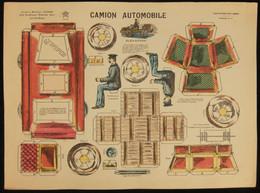 ( Enfantina Découpage Diorama ) CAMION AUTOMOBILE   Imagerie Marcel VAGNÉ JARVILLE NANCY Planche N°11 - Collections