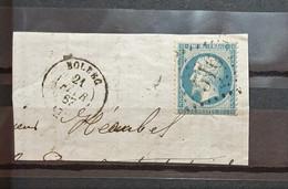 05 - 21 - France - Fragment N°22 Oblitération GC 516 - Bolbec - Seine Inferieur - 1862 Napoleon III