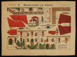 ( Enfantina Découpage Grèce ) HABITATION EN CRÊTE  Imagerie Marcel VAGNÉ JARVILLE NANCY Planche N°13 - Collections