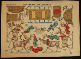 ( Enfantina Découpage Russie ) TRAINEAU EN SIBÉRIE  Imagerie Marcel VAGNÉ JARVILLE NANCY Planche N°66 - Collections