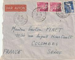 Lettre Par Avion Mariannes Gandon Surchargées CFA  Pointe Des Gallet Pour Colombes Seine 1951 - Covers & Documents