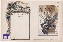 Superbe Planche Lithographie Müller 1892 Publicité Hôtel Du Cygne Lucerne Chocolat Frey Aarau Art Nouveau Jugendstil PF2 - Stampe & Incisioni