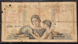 Indochina Indochine Vietnam Viet Nam Laos Cambodia 500 Piastres Fine Banknote Note / Billet 1939 - Pick# 57 / 02 Photo - Indochina