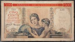 Indochina Indochine Vietnam Viet Nam Laos Cambodia 500 Piastres VF Banknote Note / Billet 1951 - Pick# 83 / 02 Photo - Indochina