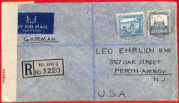 Aa2257 - PALESTINE - POSTAL HISTORY - Censored REGISTERED COVER To  USA  1944 - Palästina