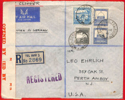 Aa2258  - PALESTINE - POSTAL HISTORY - Censored REGISTERED COVER To  USA  1941 Palestinian Censor - Palestine